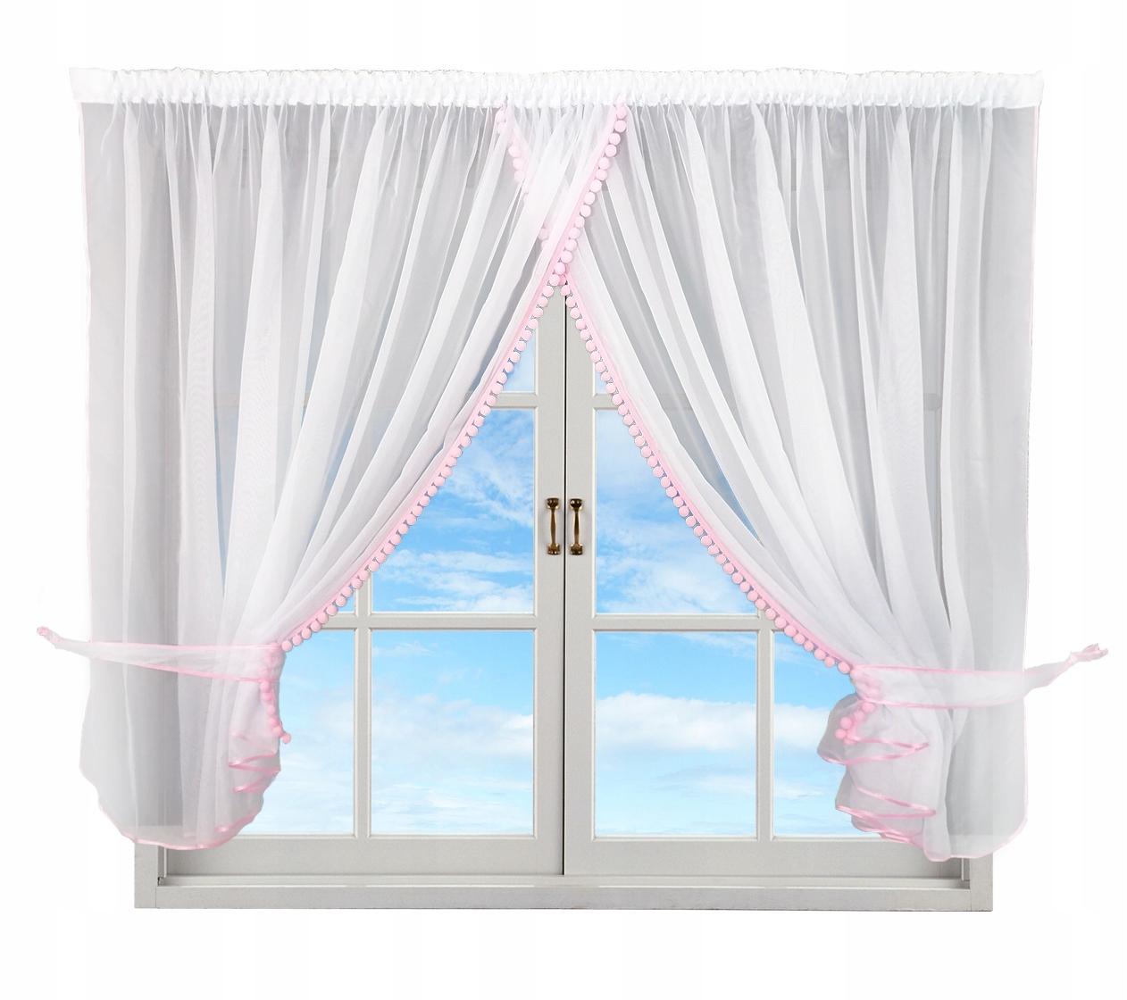 Детская штора kinga pompoms розовая 400/150
