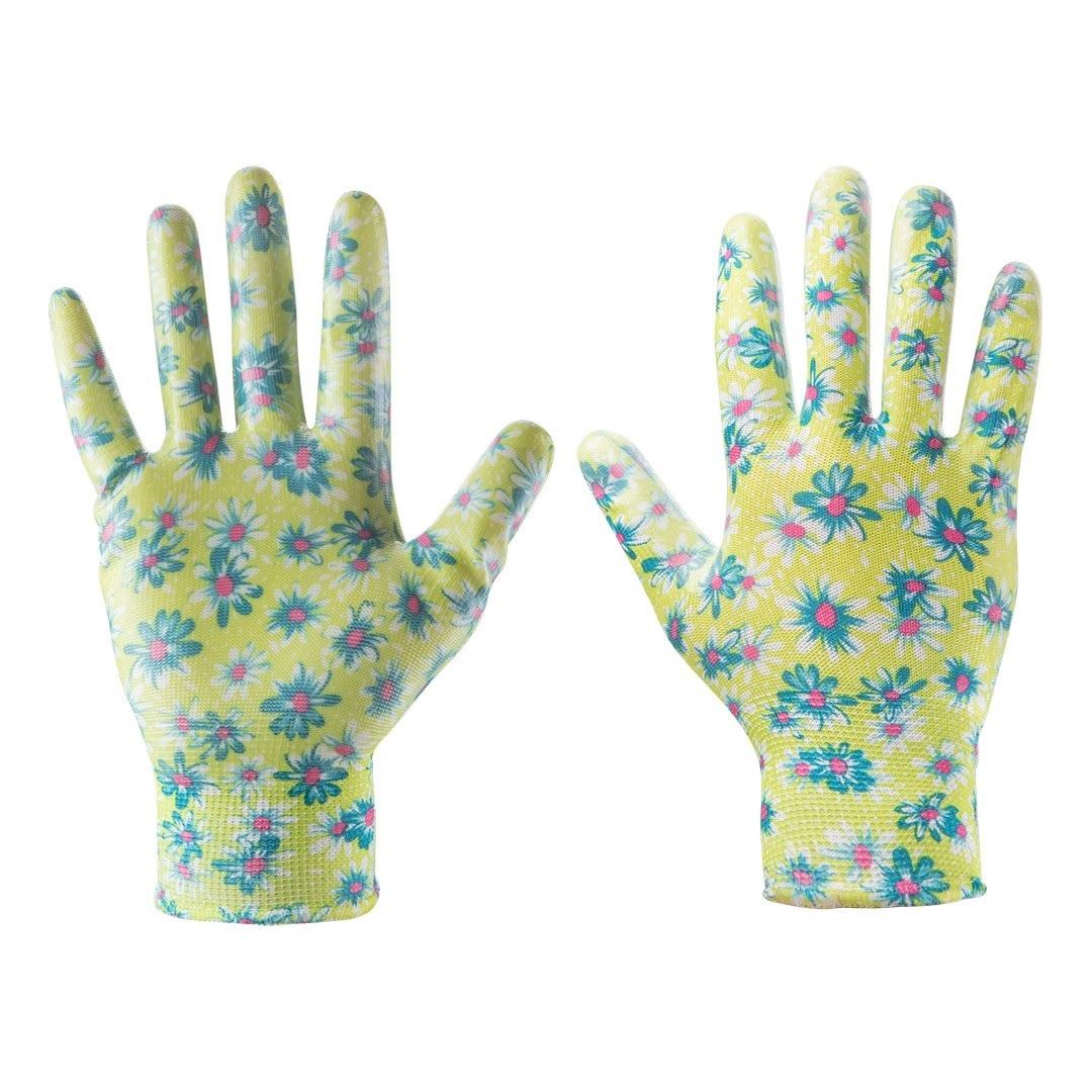 Rękawice ogrodowe damskie kwiatki nitrylem roz 7