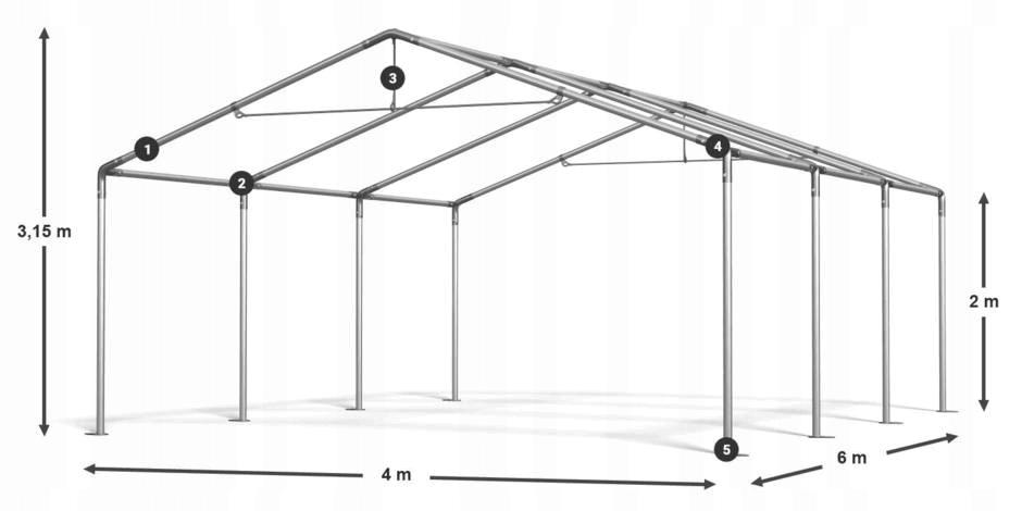 4x6m Namiot ogrodowy stal eventowy ocynkowany 7980990657