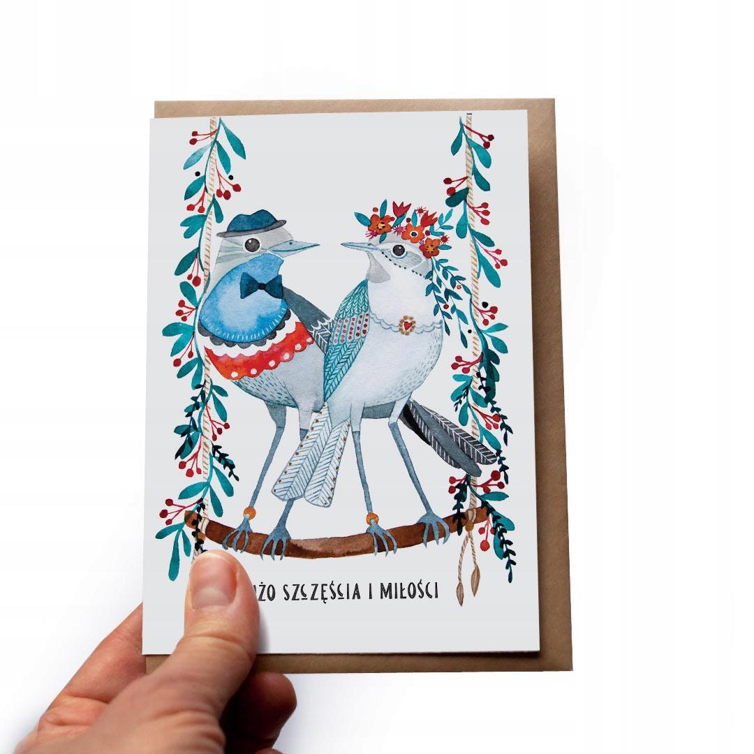 Купить Свадебная открытка Пожелания молодой паре Птица + Эко конверт на Otpravka - цены и фото - доставка из Польши и стран Европы в Украину.