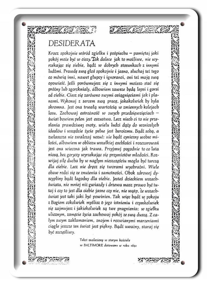 DEZYDERATA KOVOVÁ DOSKA RETRO OBRÁZOK # 11167