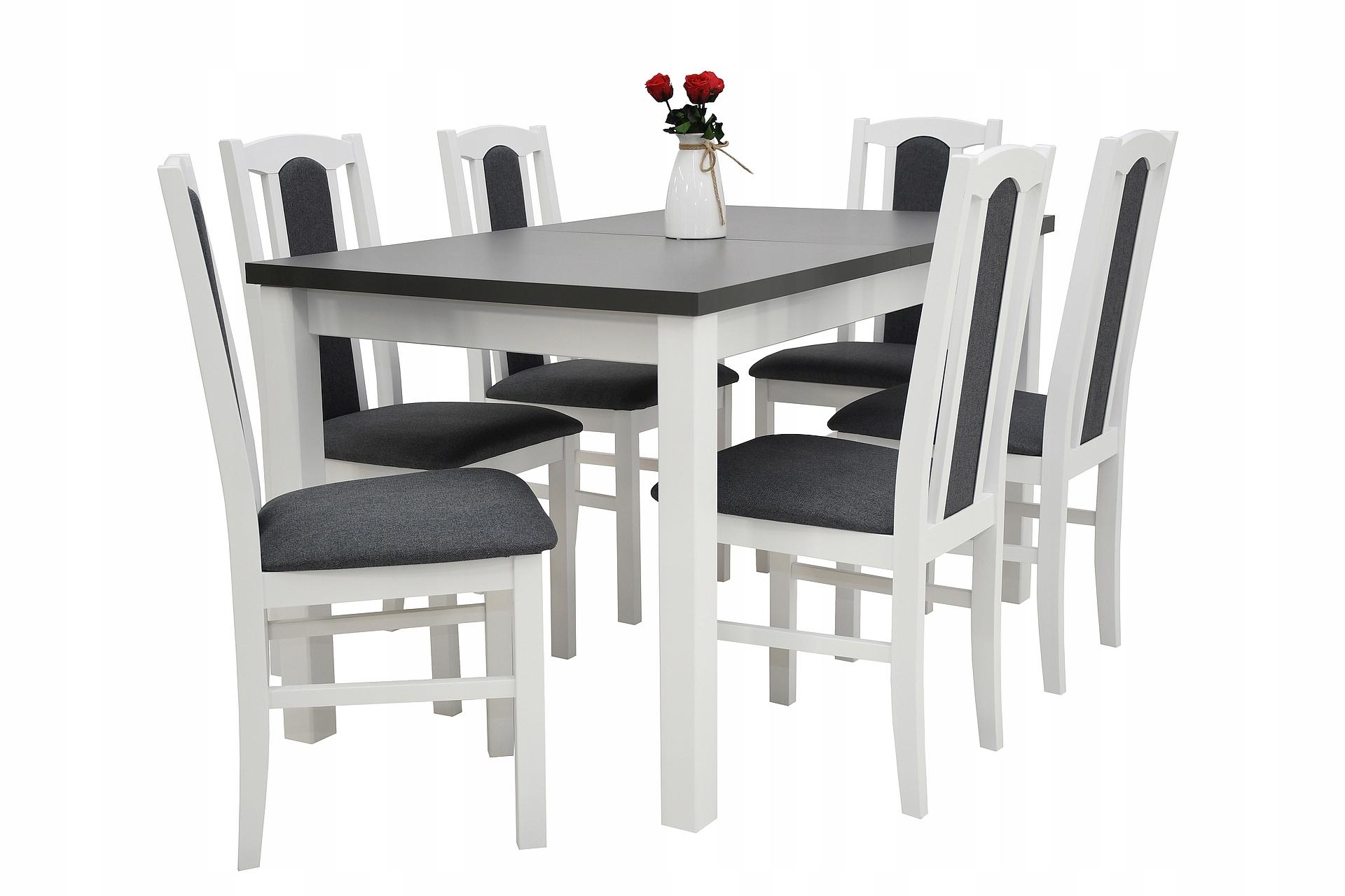 stół z 6 krzesłami, komplet, stoły i krzesła