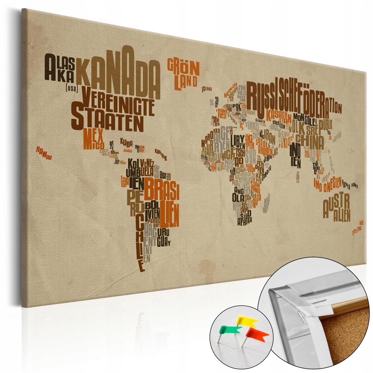 Korková tlač - Retro mapa [Korková mapa] 90x60