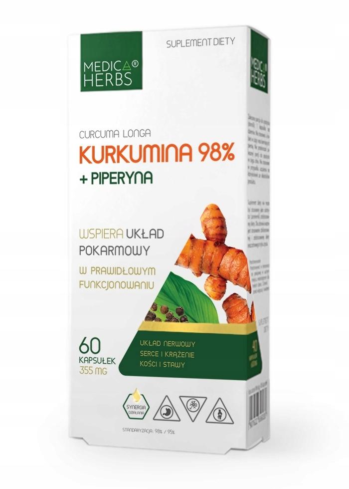 KURKUMA kurkumina 98% 710mg +PIPERYNA Medica Herbs
