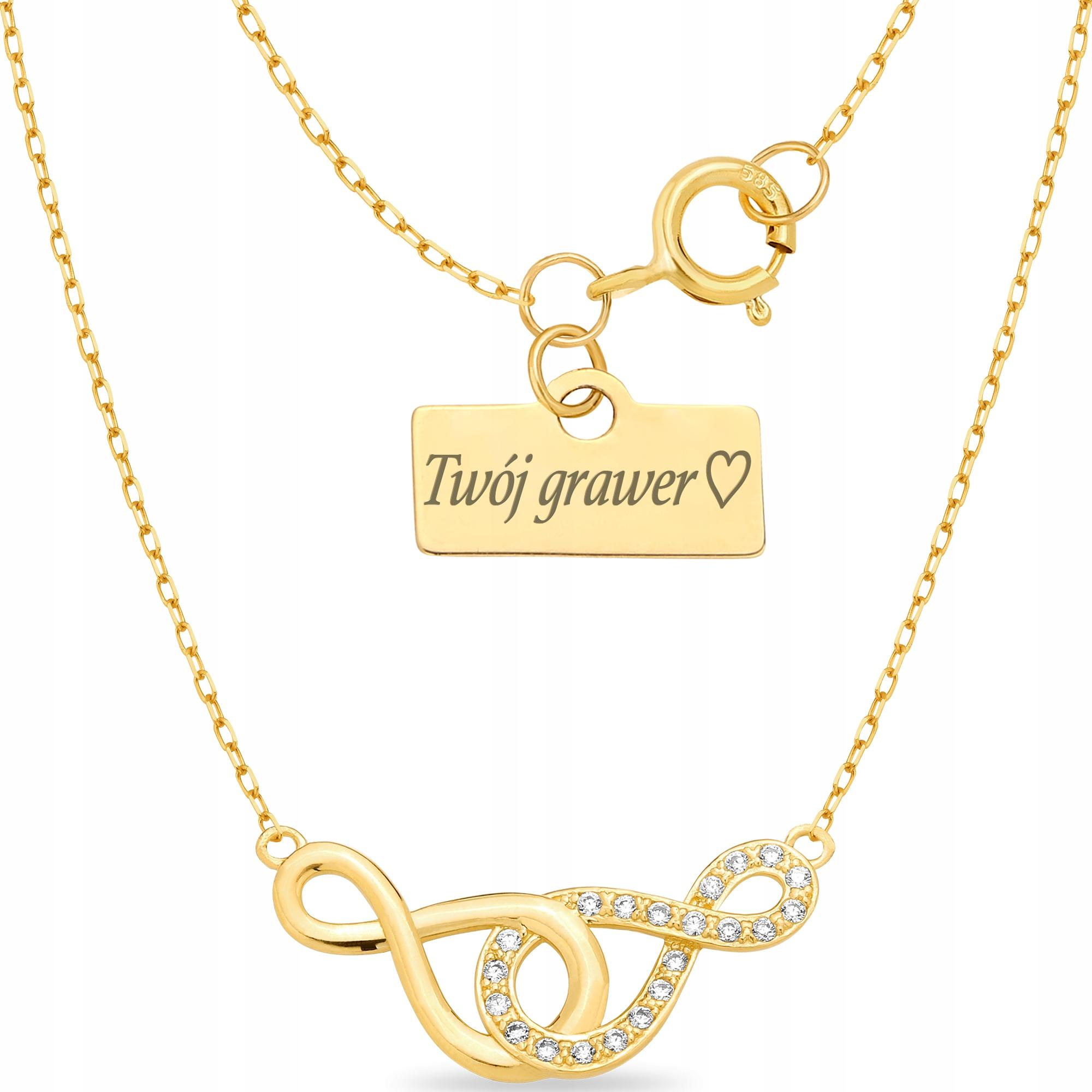 Złoty naszyjnik 333 Celebrytka Infinity Grawer