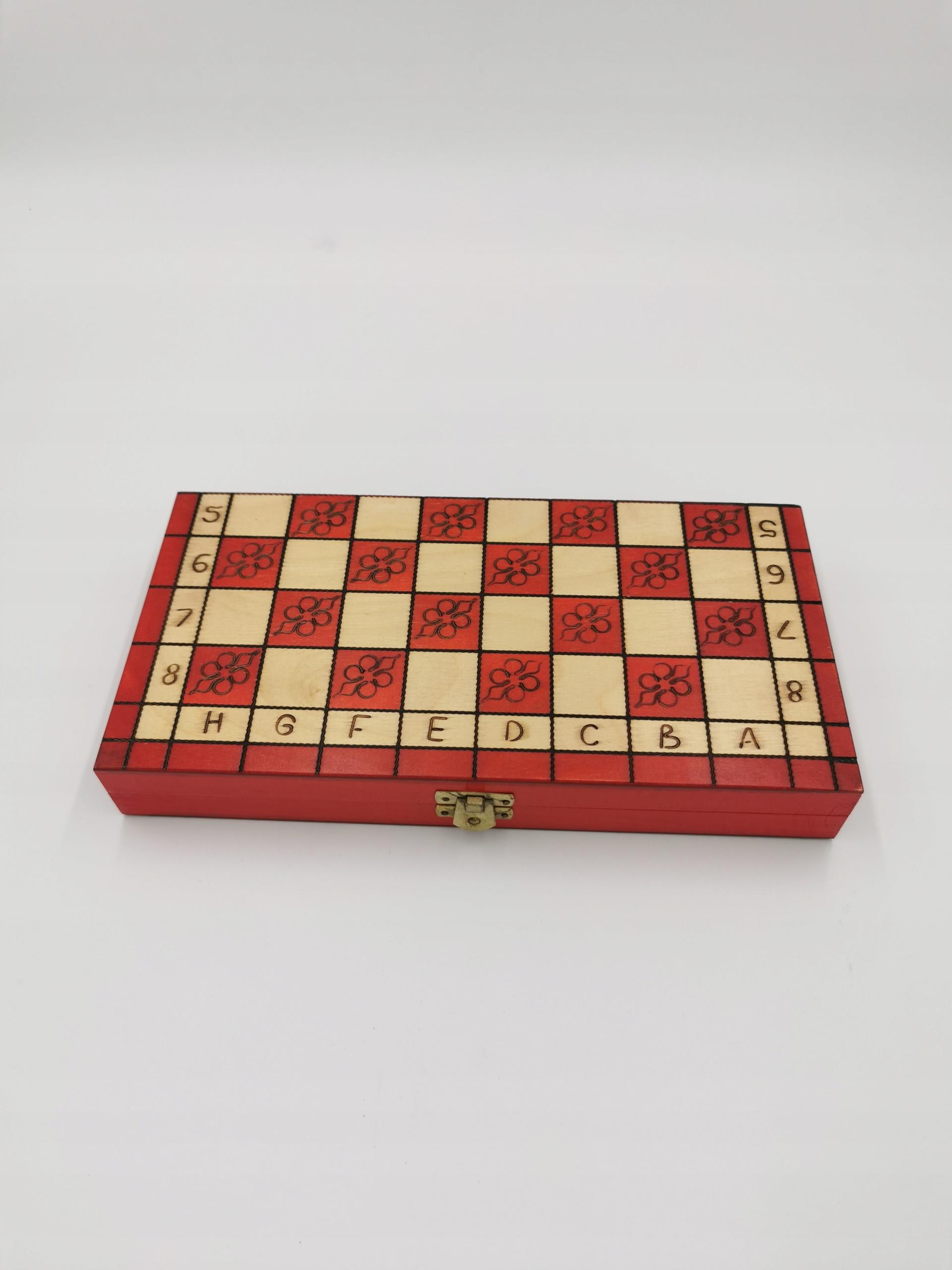 Tradycyjne szachy drewniane 29 cm czerwone Wiek gracza 3-4 lata 5-7 lat 8-11 lat 12-14 lat 15-18 lat 18+
