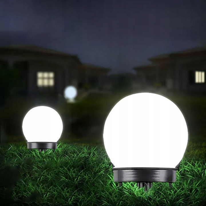 Lampa SOLARNA LED ogrodowa solar KULA 10 cm Wysokość całkowita 35 cm