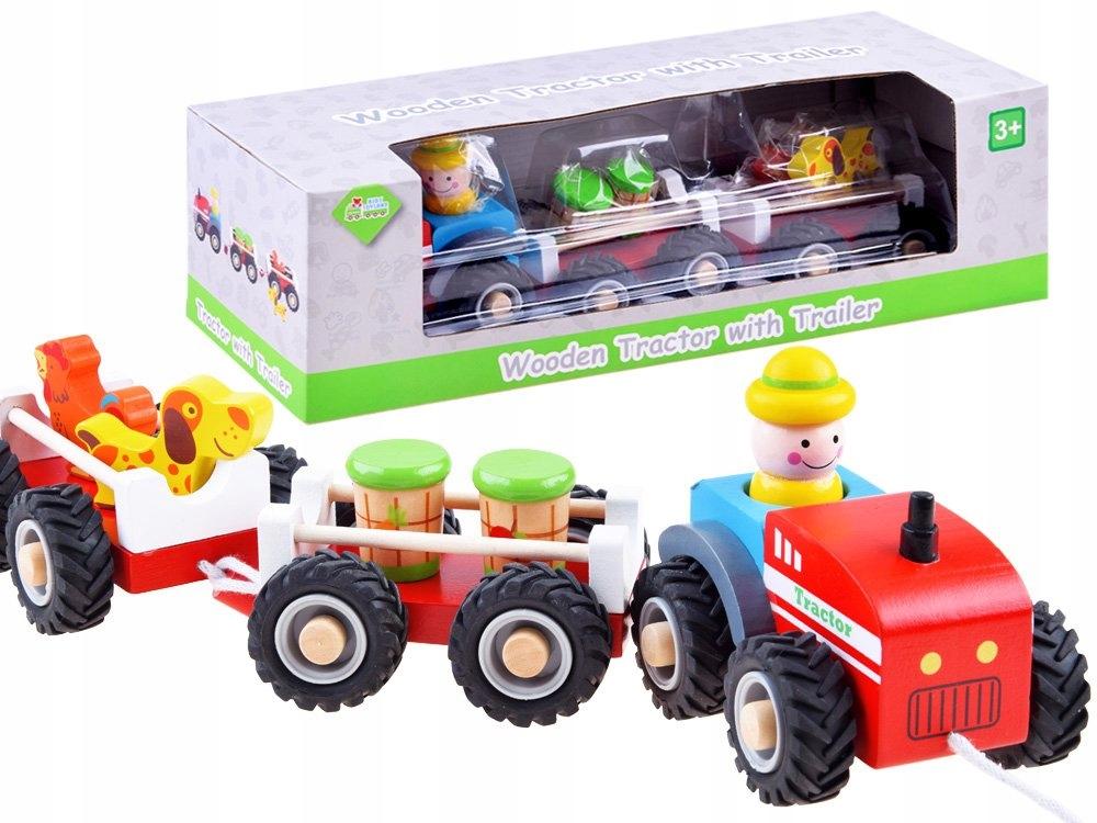 Traktor z przyczepą drewniana Kolejka farma ZA3566 Marka inna