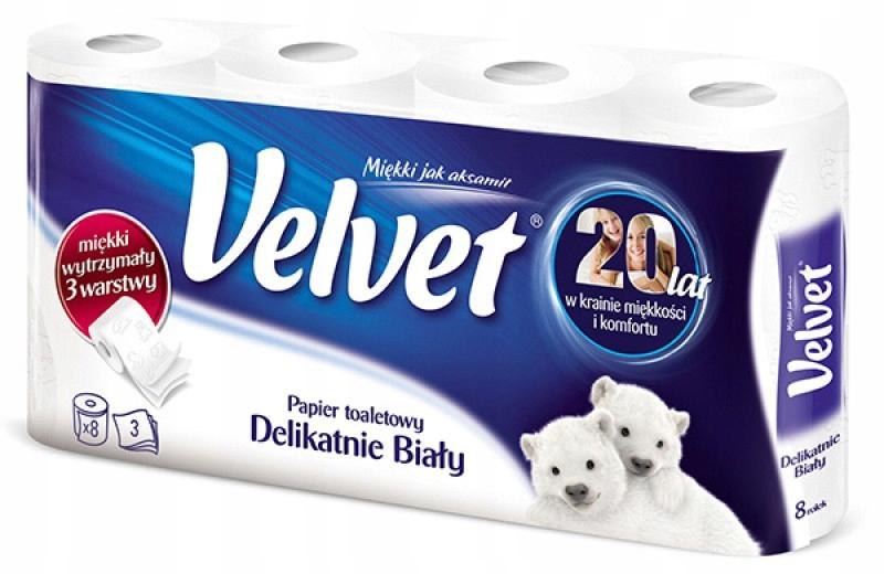 Туалетная бумага Velvet 3 wastwowy мощный , 8 рулонов