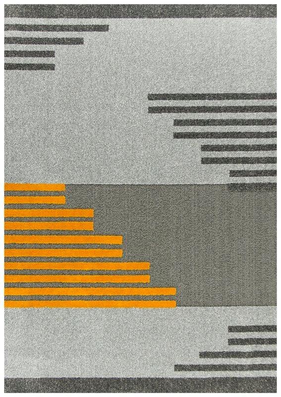 Koberec 80x160 cm SIVÁ MODERNÝ KOBEREC, ŽLTÉ PRUHY