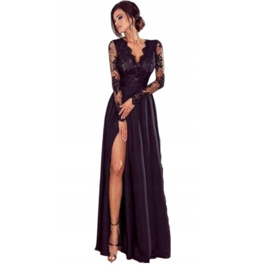 Макси-платье с кружевом и разрезом 42 XL