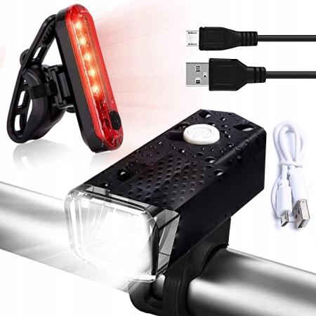 2 szt LAMPKA ROWEROWA LED zestaw TYŁ PRZÓD na USB