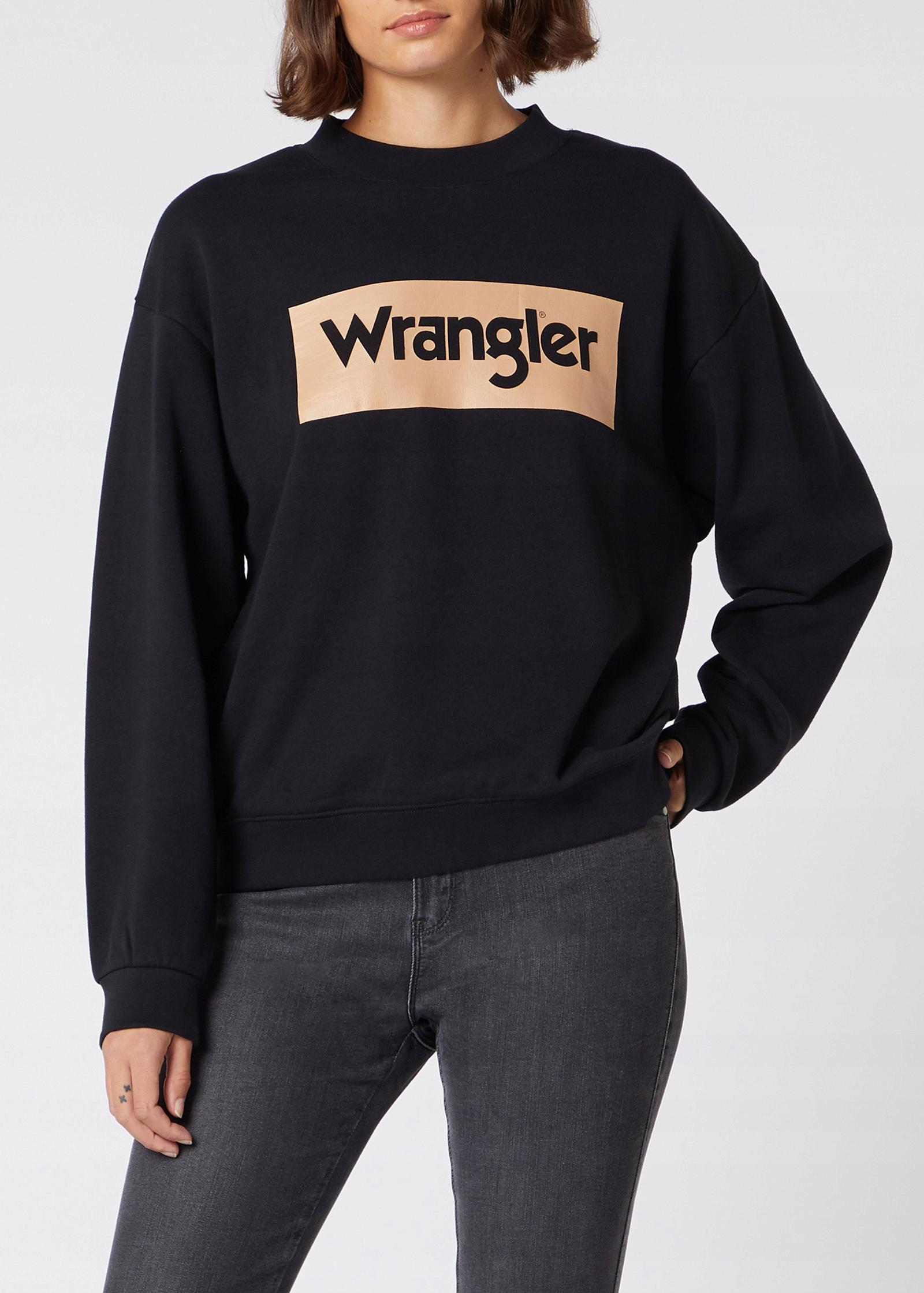 Svetr Wrangler Retro Logo - čierny