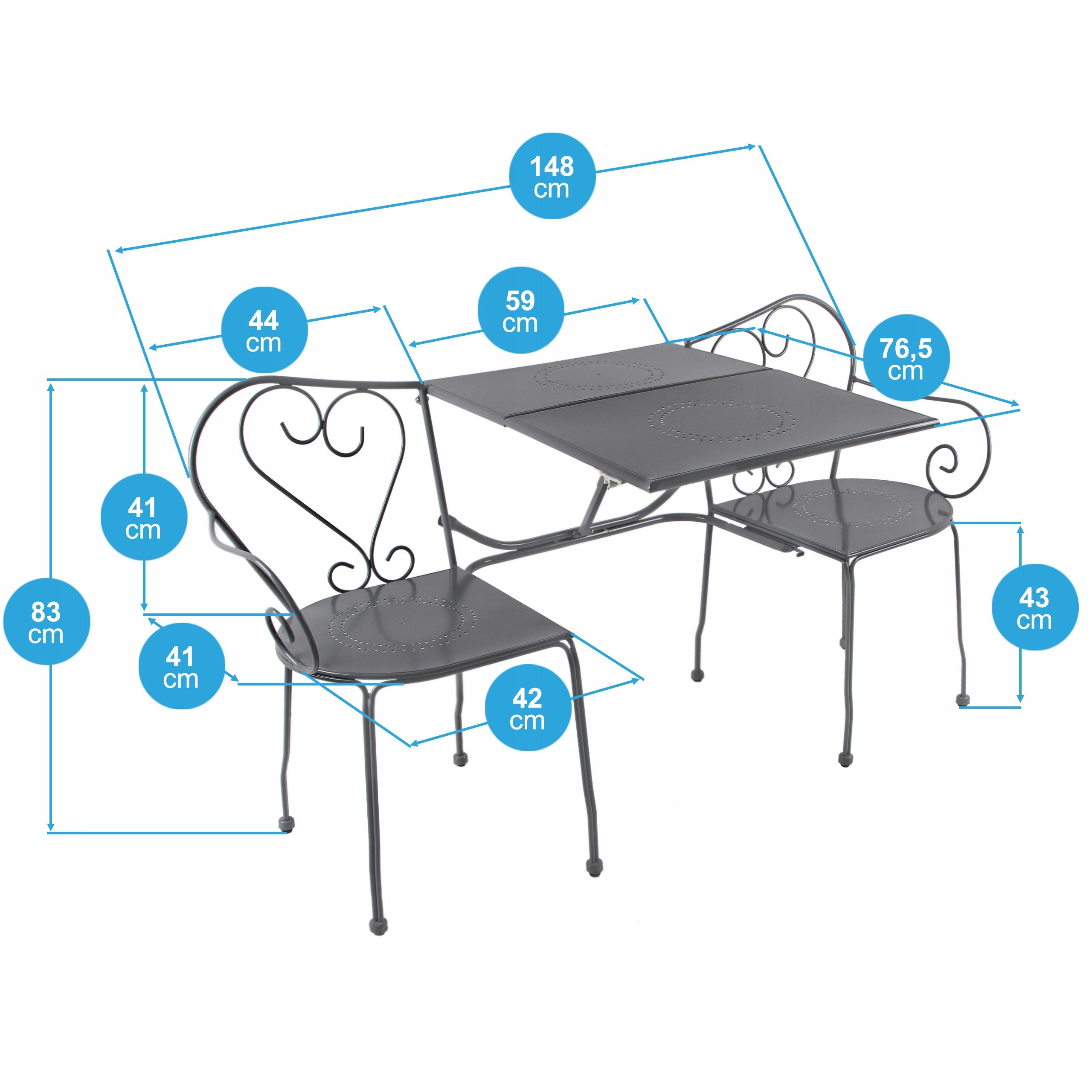 Záhradný nábytok Sada stoličkových stoličiek 3v1 Počet osôb 3