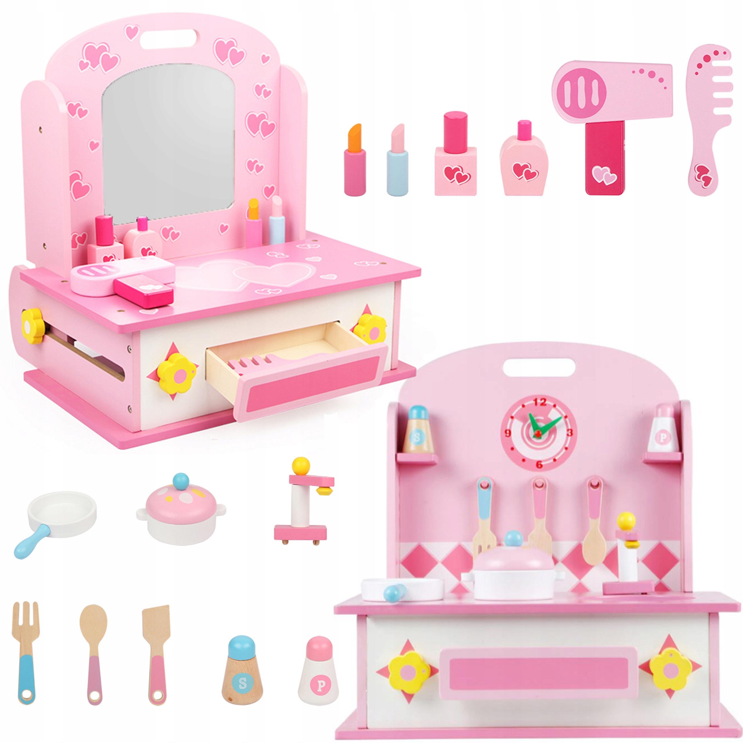 DREVENÁ toaletná kuchynka pre dievča 2v1 610
