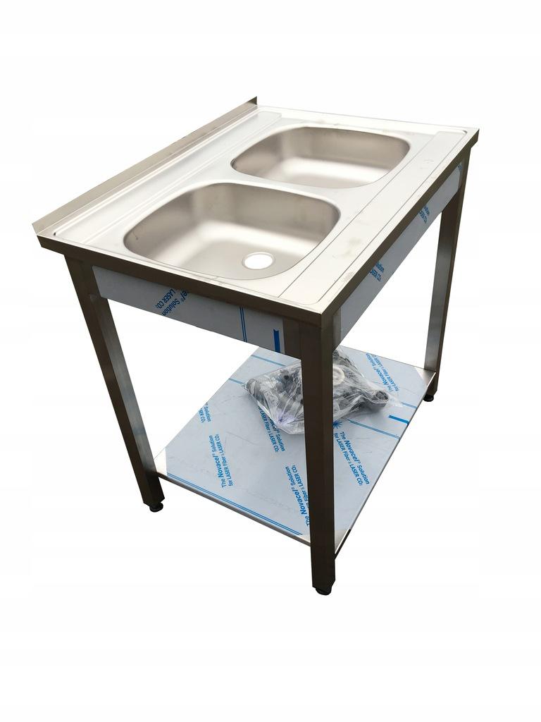 Стол из нержавеющей стали с мойкой 80x60x85 см INOX