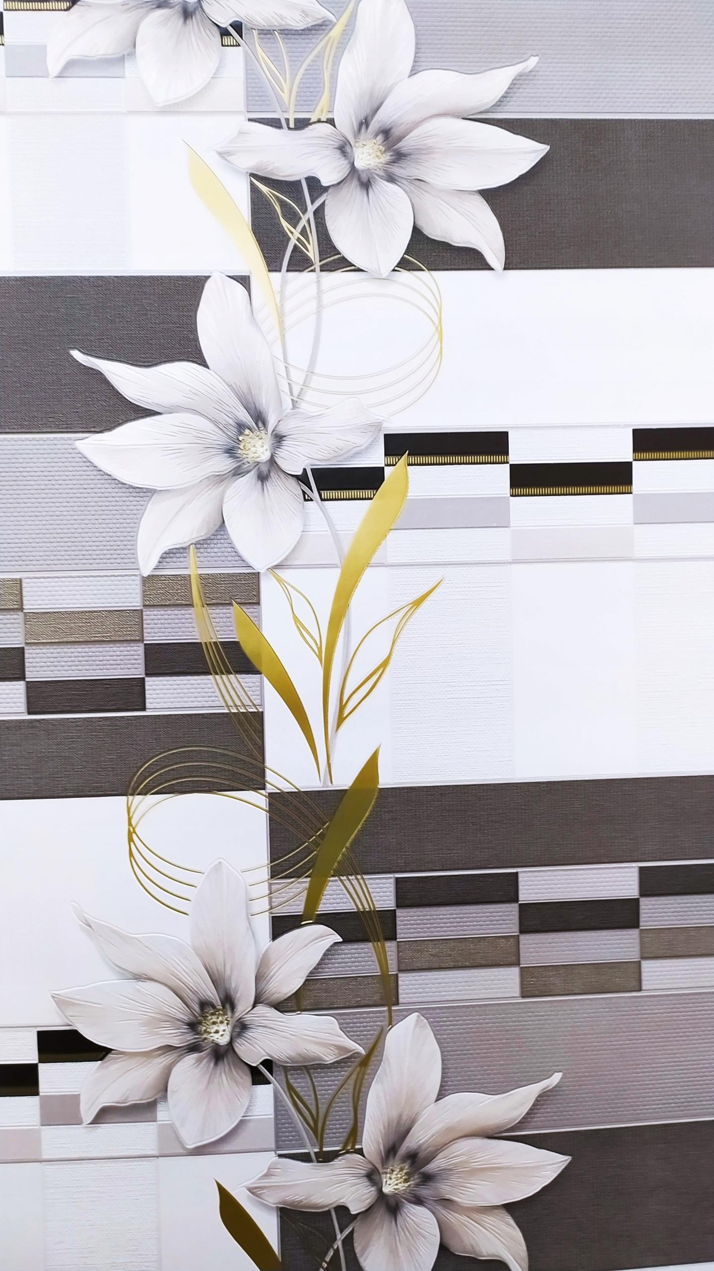 Обои для кухни / ванной цветочная плитка 5800-06