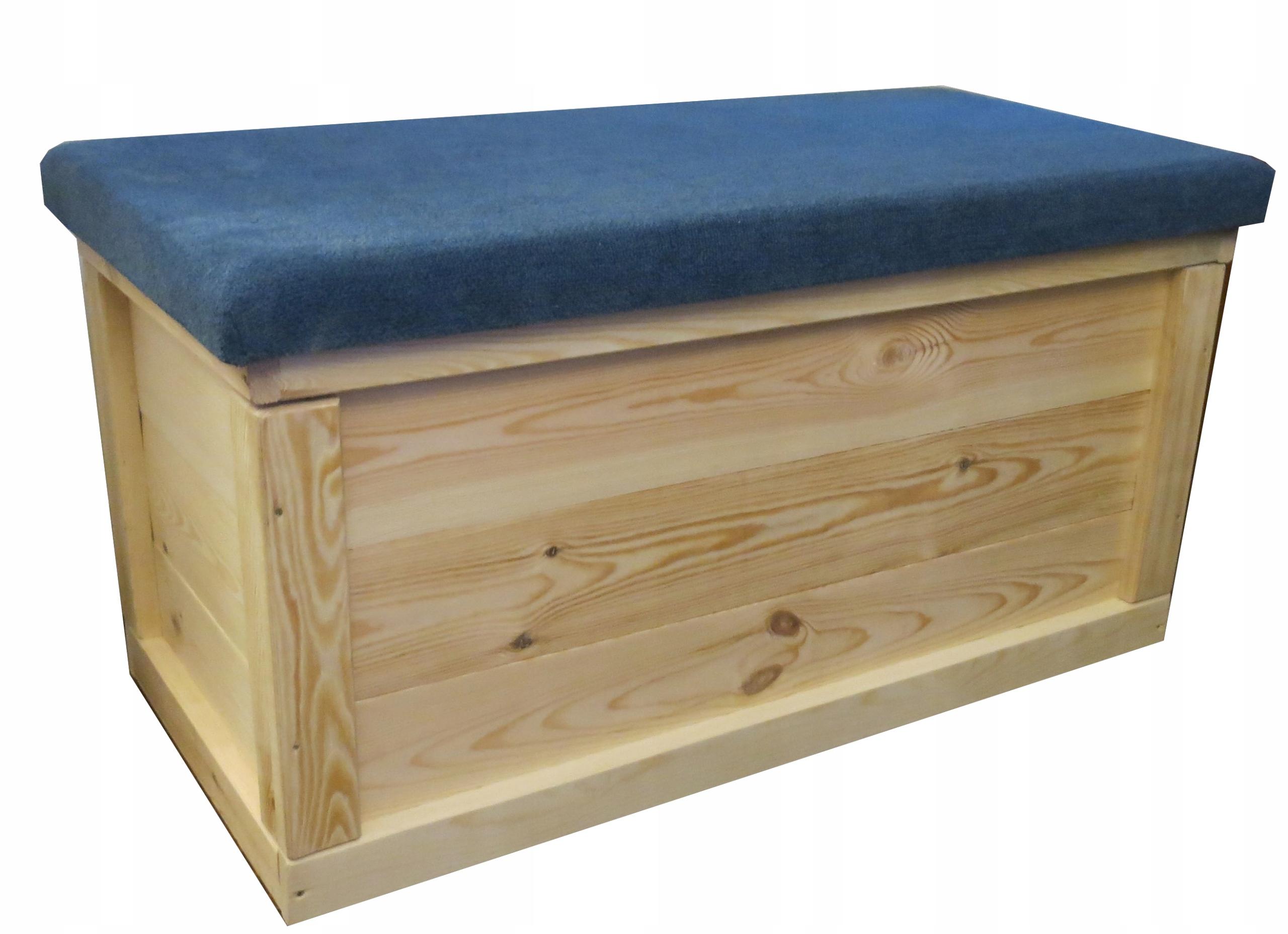 Skrzynia kufer drewniany tapicerowany duży pufa