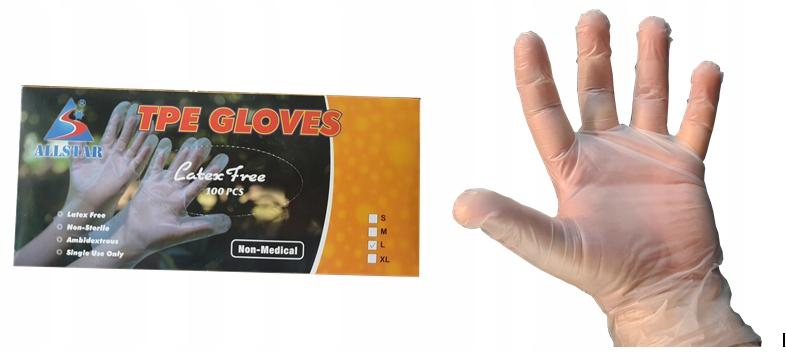 Перчатки защитные одноразовые ТПЭ 100 шт. Л