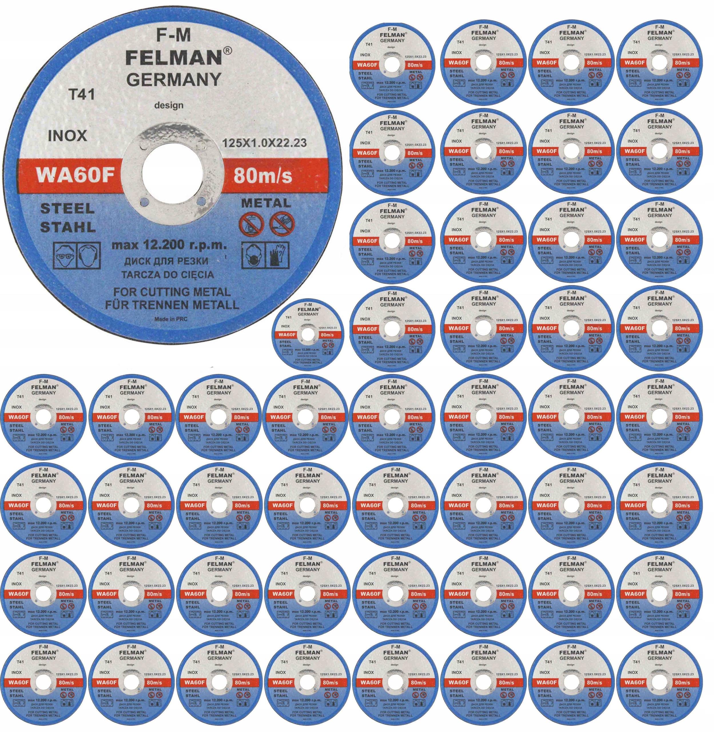 DISC METAL CUTTING DISCS 125x1 FELMAN 50 шт.