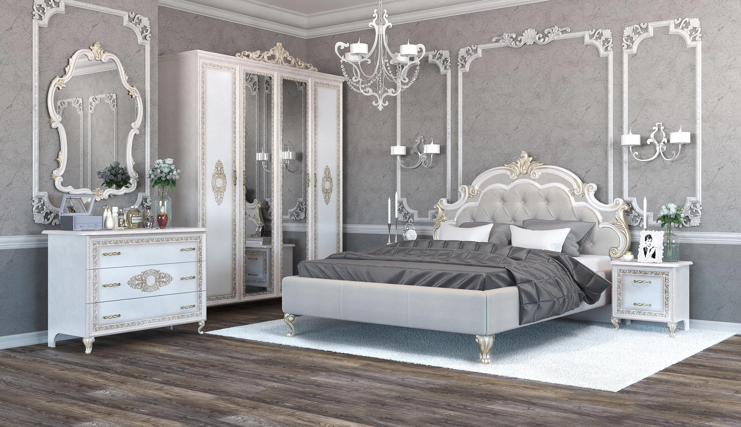 ИТАЛЬЯНСКАЯ Спальня MEDEA БЕЖЕВЫЙ Стиль гламур шкаф 4D