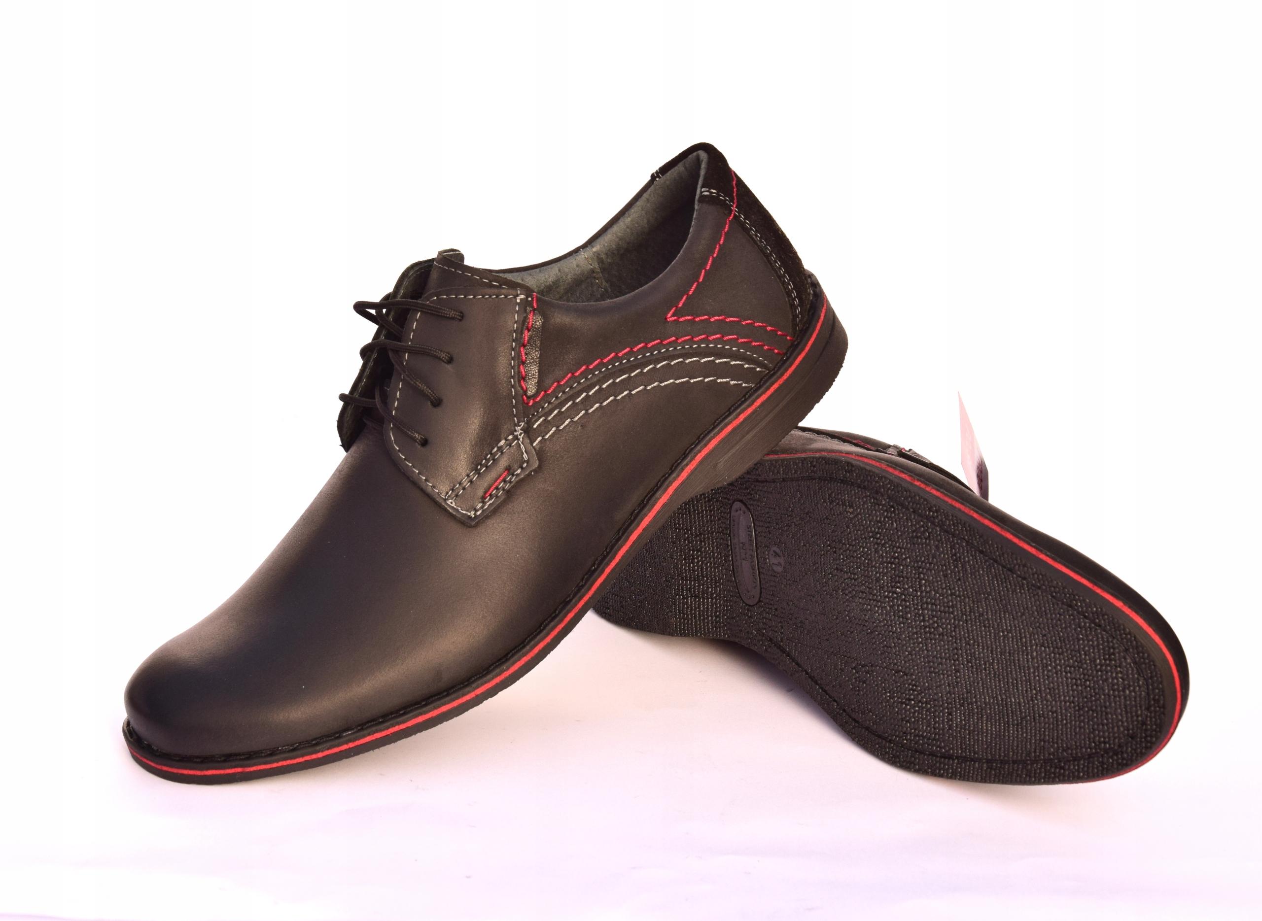 Buty męskie casual obuwie skórzane polskie 242 Oryginalne opakowanie producenta pudełko