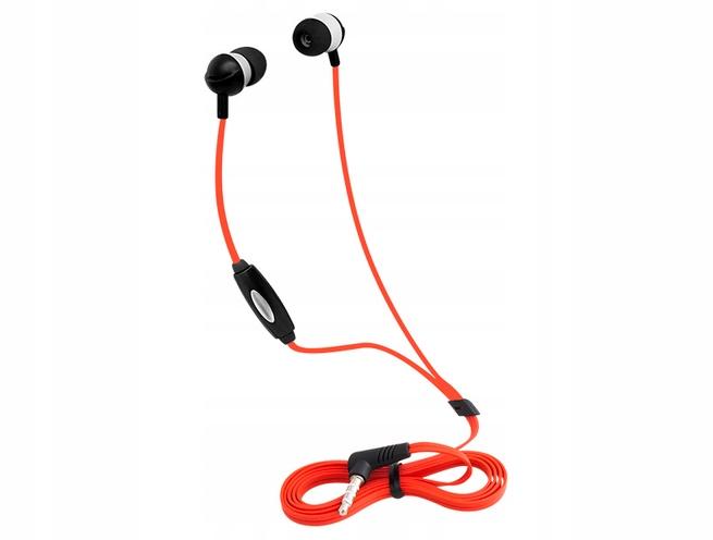 Słuchawki Z Mikrofonem Czerwone Stereo Douszne