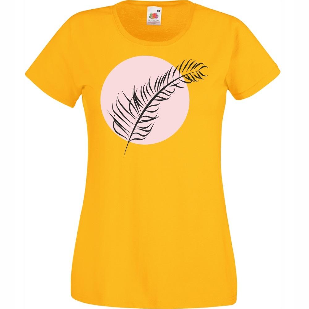 Koszulka liść listek grafika M żółta