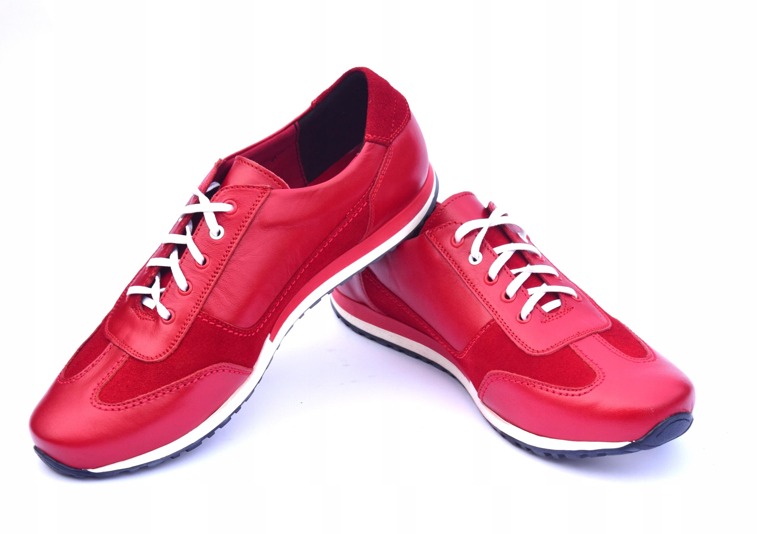 Buty skórzane czerwone obuwie ze skóry PL 294 Płeć Produkt męski