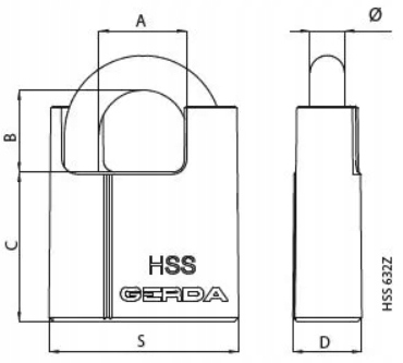 Kłódka GERDA HSS 632 12mm Klucze CL6 Atest Klasa 4 Typ kłódki Kłódka jarzmowa