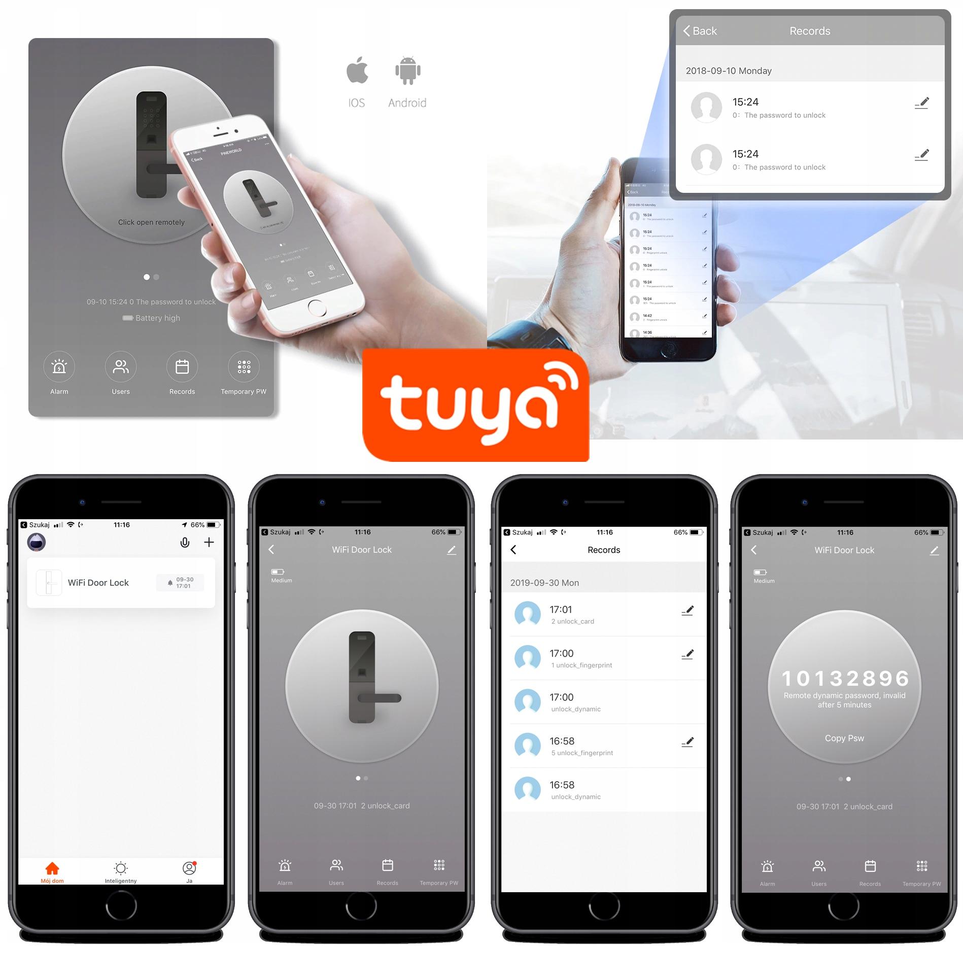 INTELIGENTNA KLAMKA NA ODCISK PALCA TUYA WIFI NFC Kod produktu E202