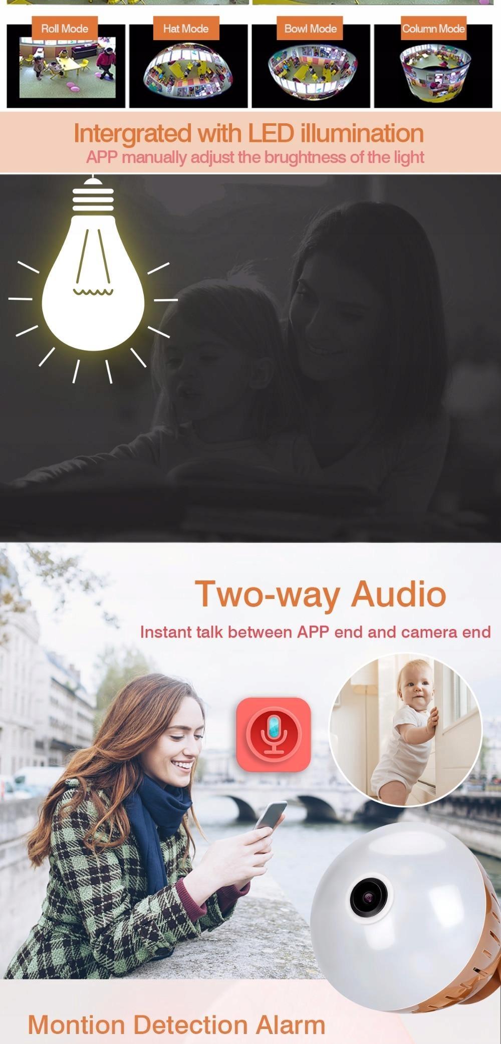 Kamera WiFi monitoring 360 Żarówka LED audio 1080P Technologia IP