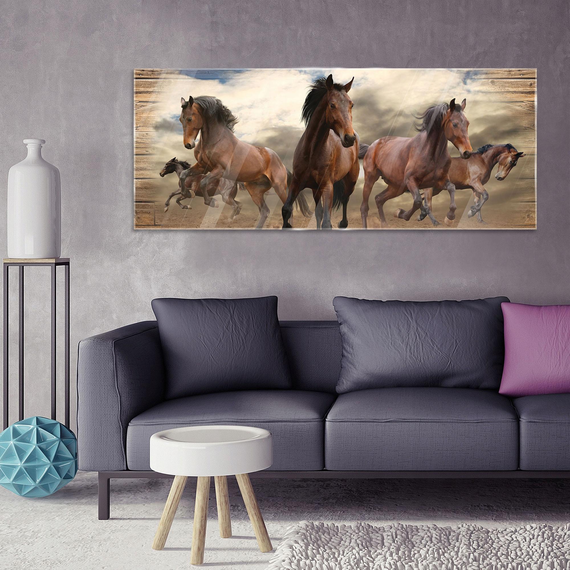 Maľovanie na sklo na sklo ZVIERATÁ Kone Kone 125x50 Ako sa robí digitálna tlač