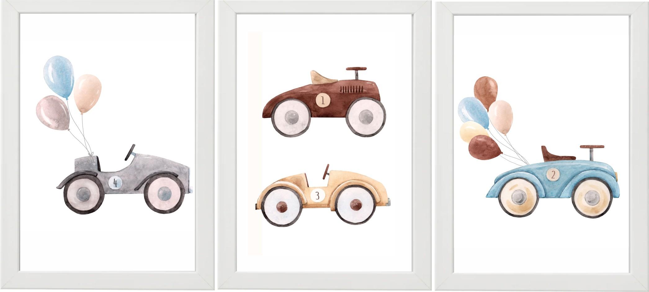Набор из 3-х ДЕТСКИХ ПЛАКАТОВ + РАМКИ А4 ретро автомобилей