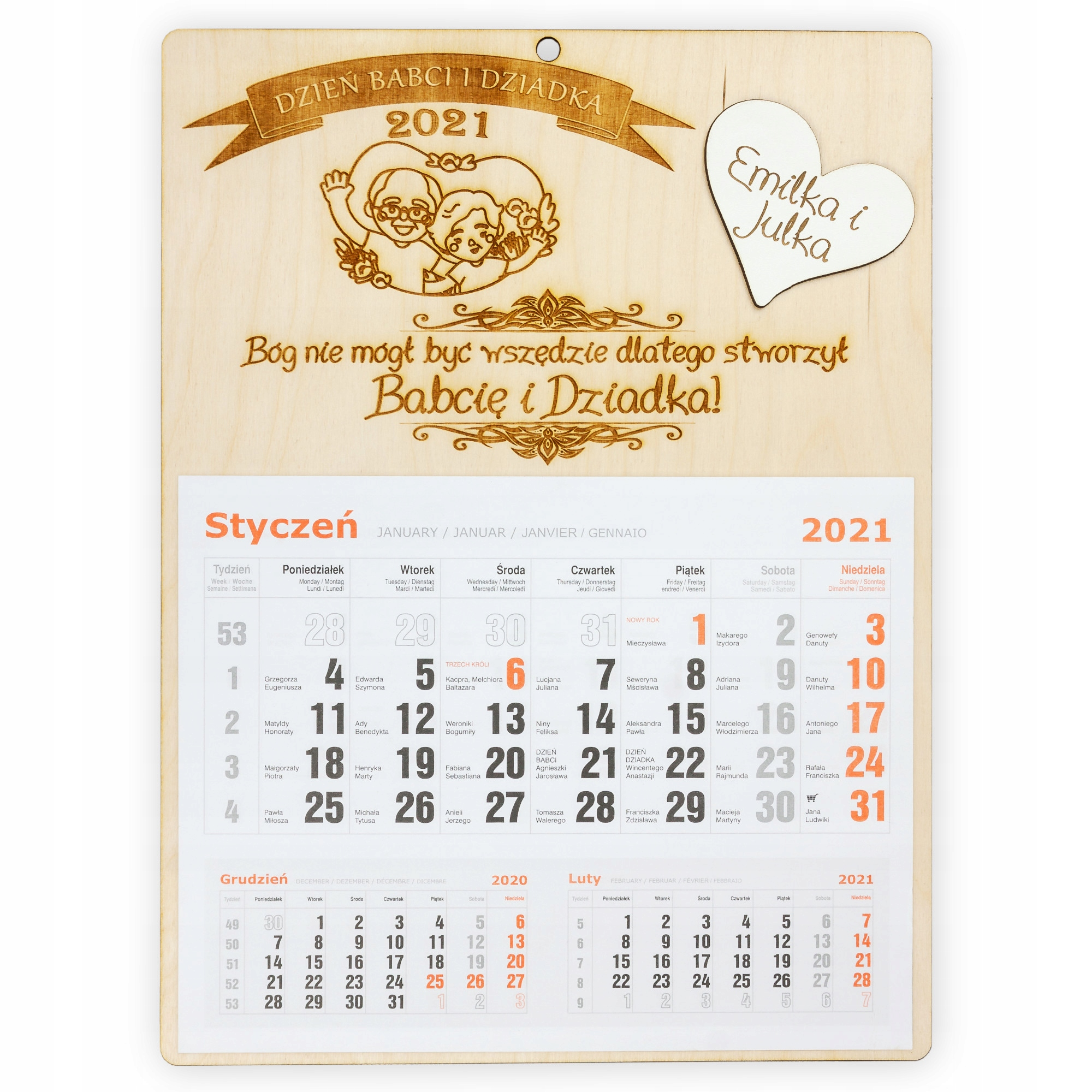 Kalendarz na Dzień Babci i Dziadka drewniany 2021