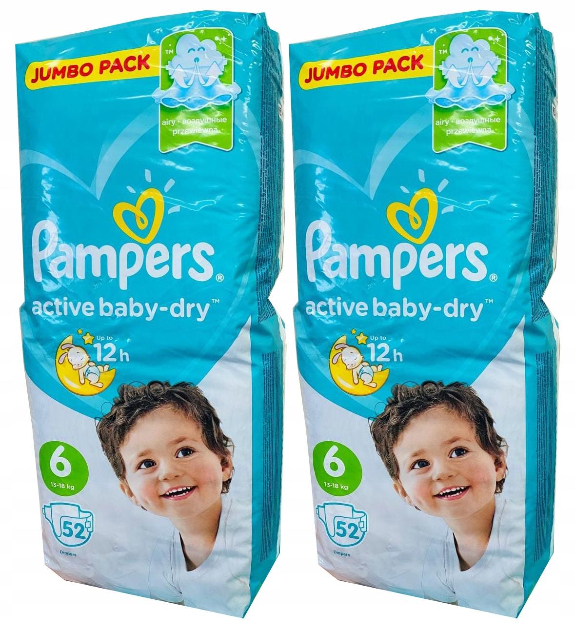Pampers Active Baby, размер 6, очень большой, 104 шт.