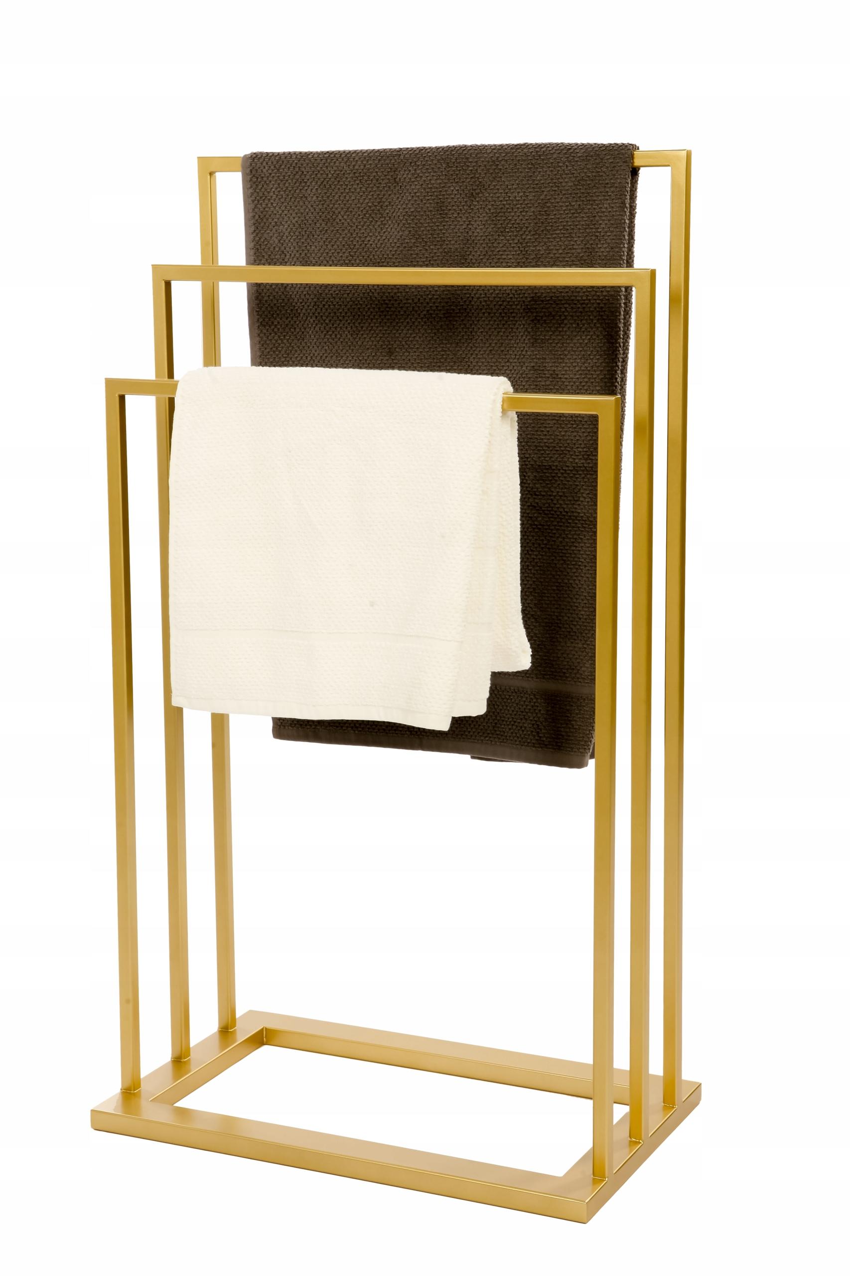 Trojitý kovový zlatý stojan na uteráky PREMIUM