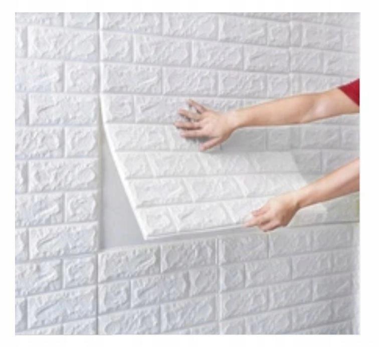 Клейкая плитка 3D обои Brick White