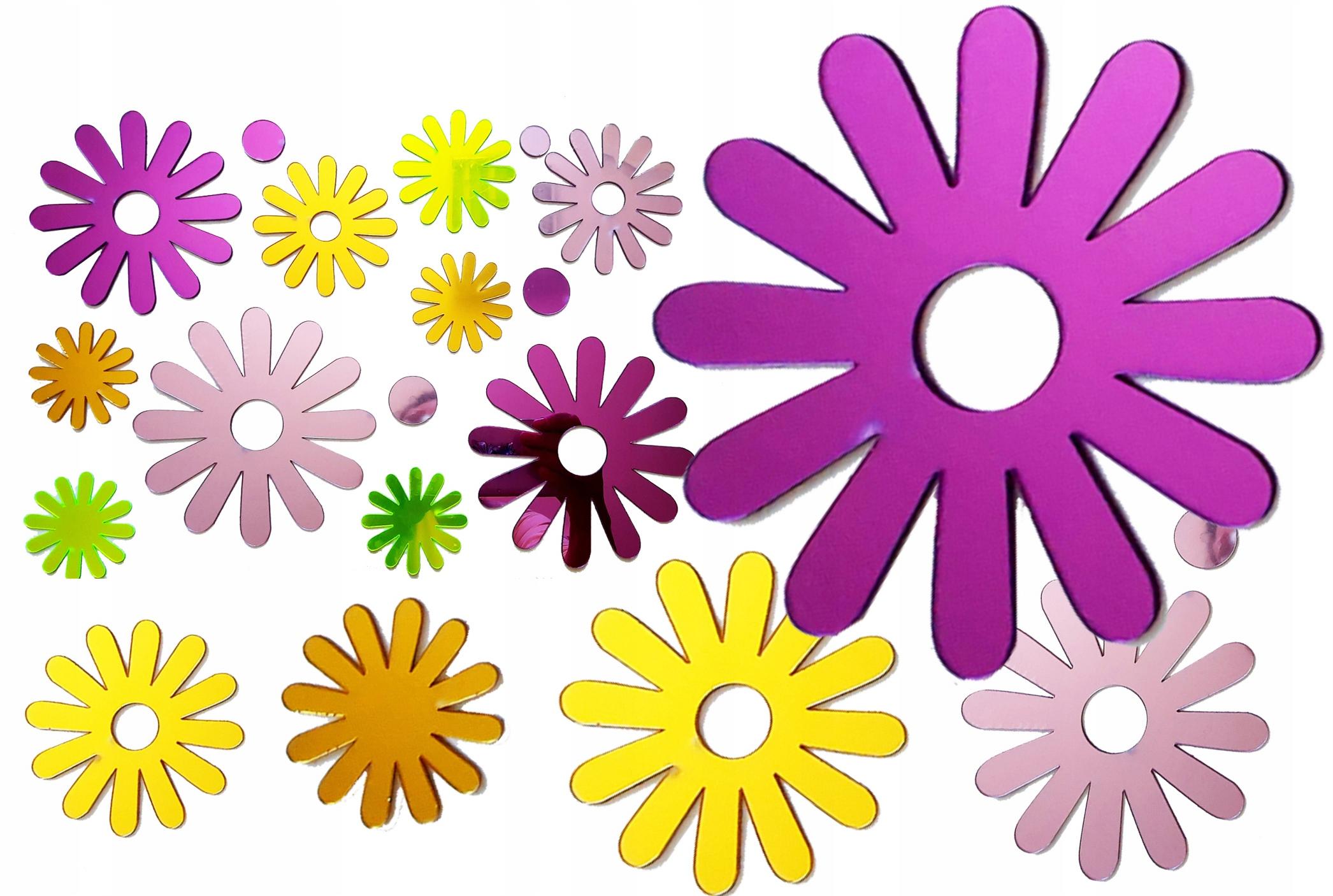 Наклейки на стену цветы красочные зеркала 3D декор