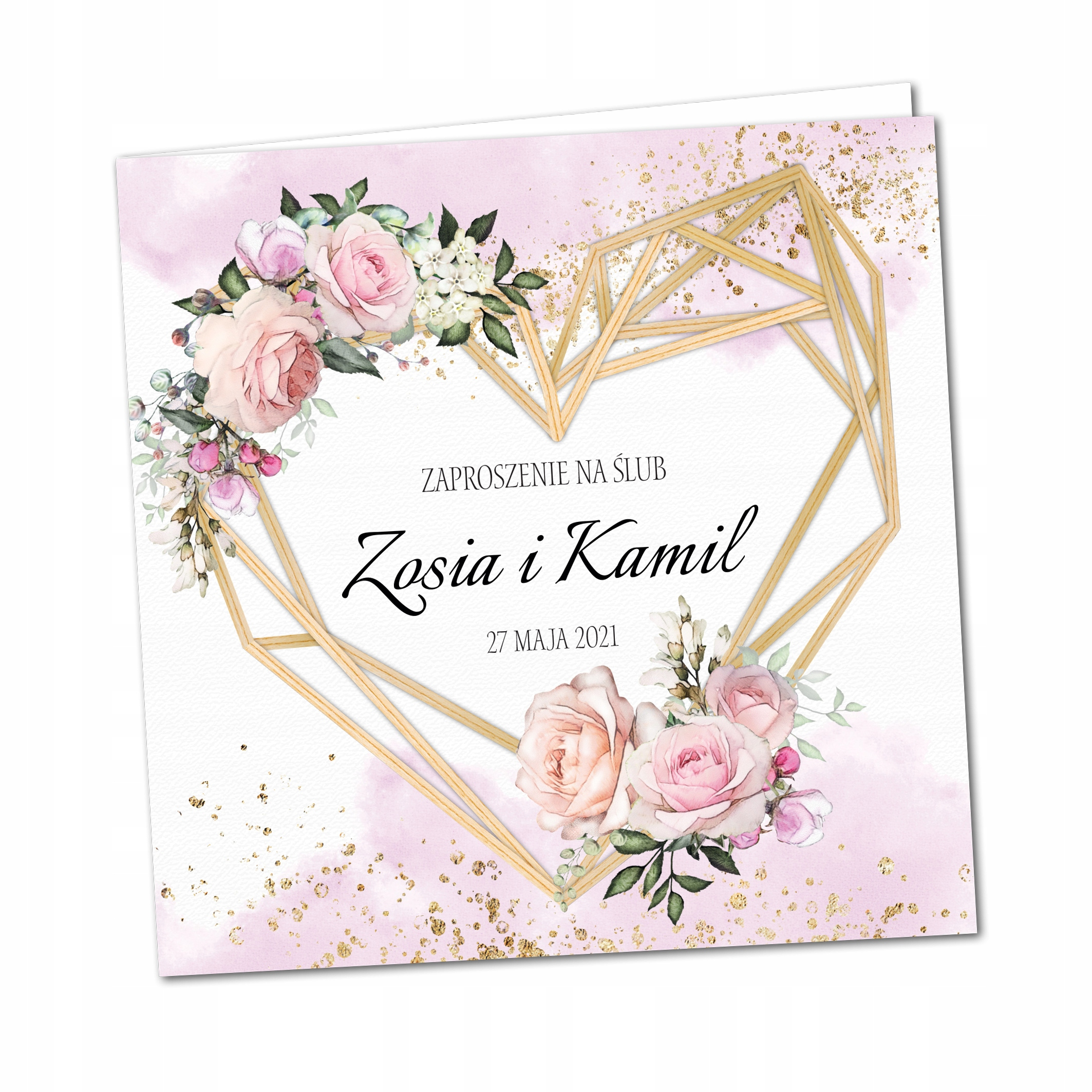 Zaproszenia ślubne kwiatowe rustykalne SERCA BOHO