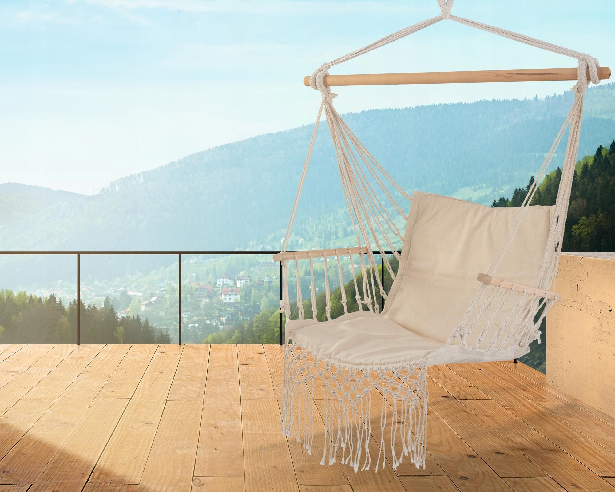 Krzesło Brazylijskie Hamak Styl Boho Podłokietniki Kolor beżowy biały