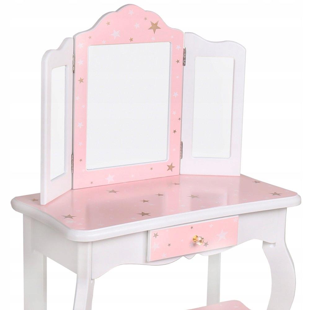 Duża drewniana toaletka dla dzieci akcesoria lustr Wiek dziecka 3 lata +