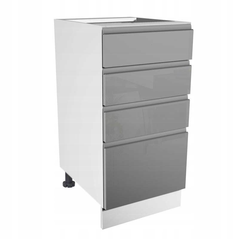 2 D40S4 ASPEN nočnom stolíku so zásuvkami, šedý lesklý