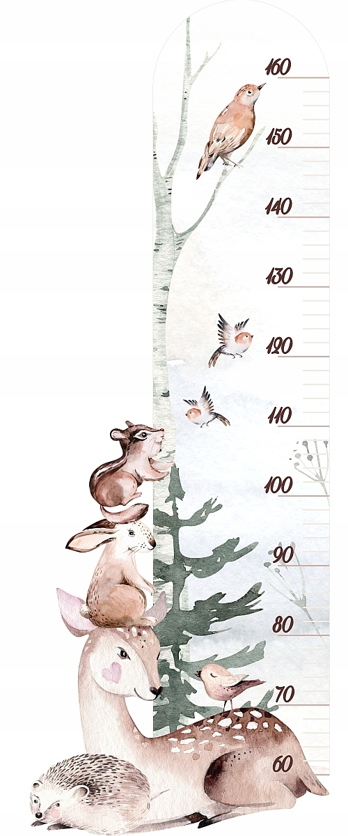 Наклейка на стену HEIGHT RULER - лесные животные