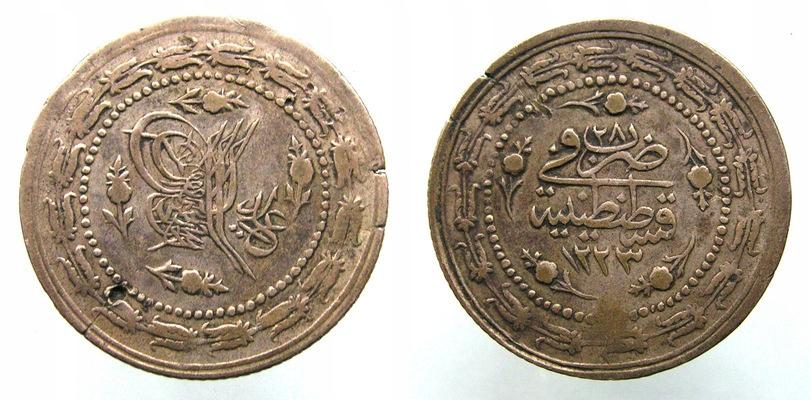 8287 Turecko, Mahmud II 6 Khucz 1808, 12,5 g.37,5 mm