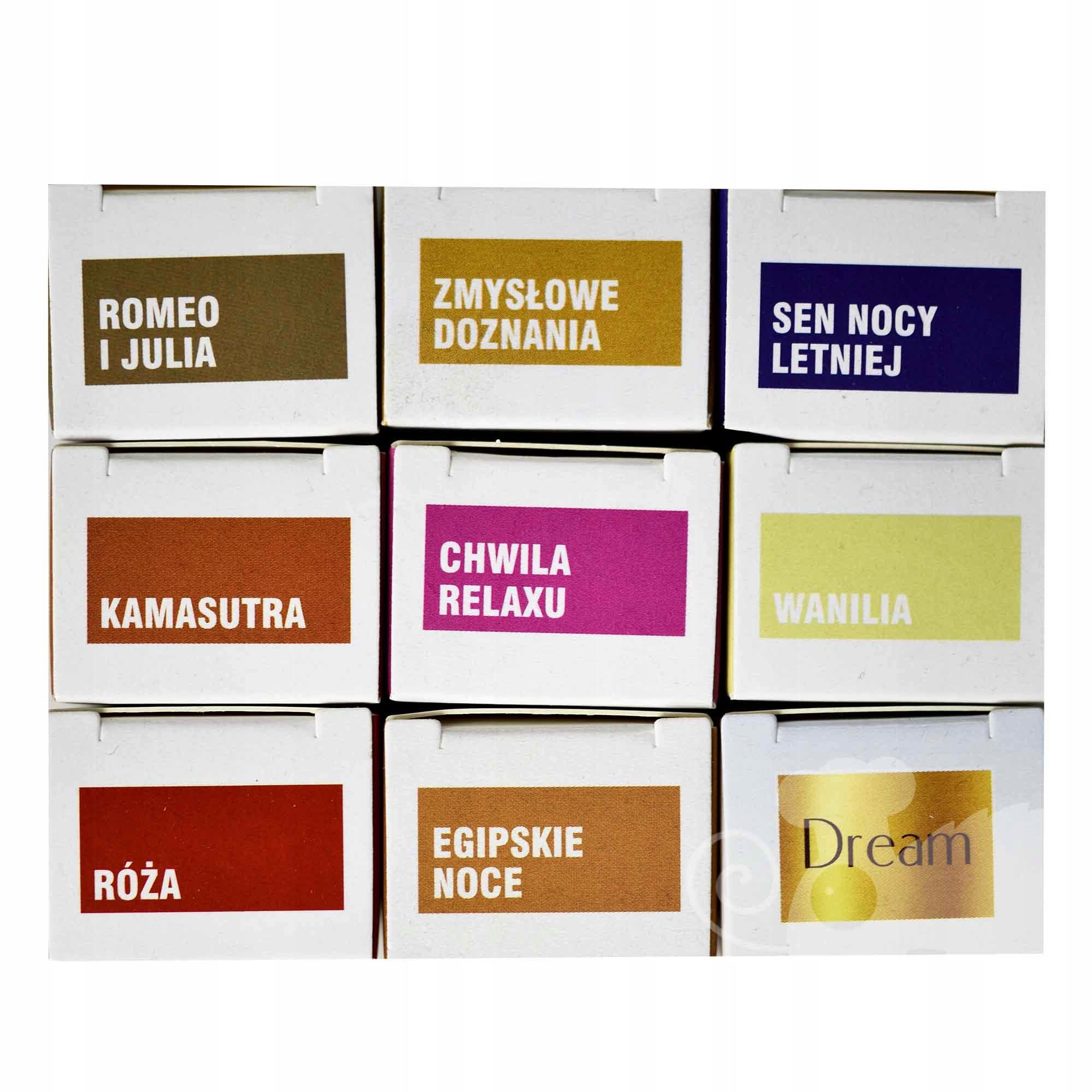 ZESTAW OLEJKÓW ZAPACHOWYCH 9szt romantyczne Kod producenta aromaterapia olejek zapachowy ZESTAW