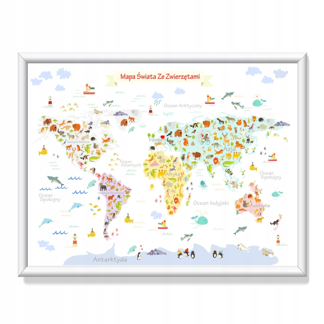 Красочная карта мира для детей 50смx70см