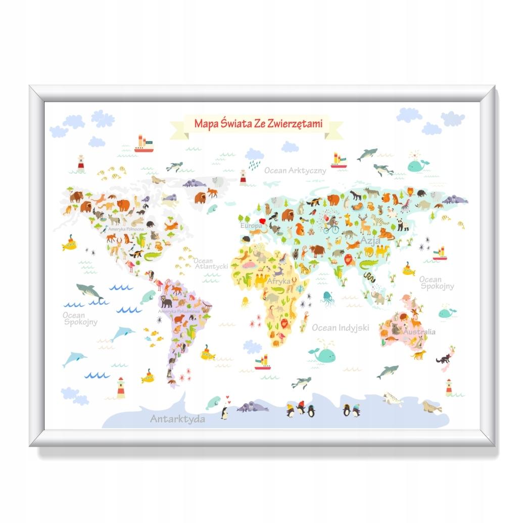 Плакат с картой мира с животными 70 см х 100 см