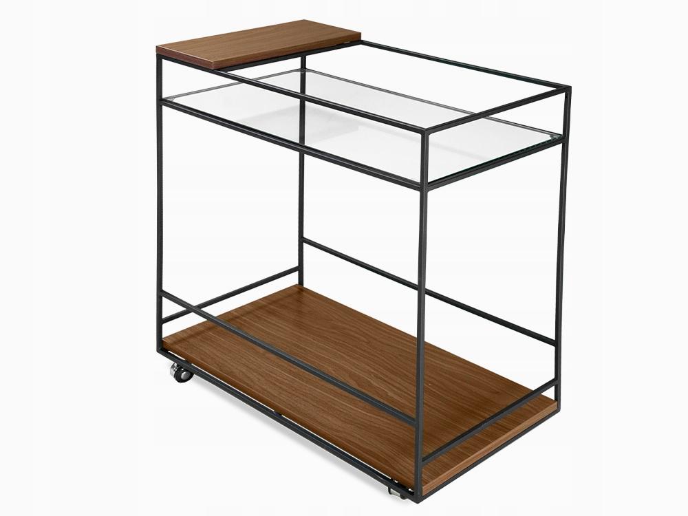 Mobilná tyč, drevo, retro sklo 80x40 cm N6411