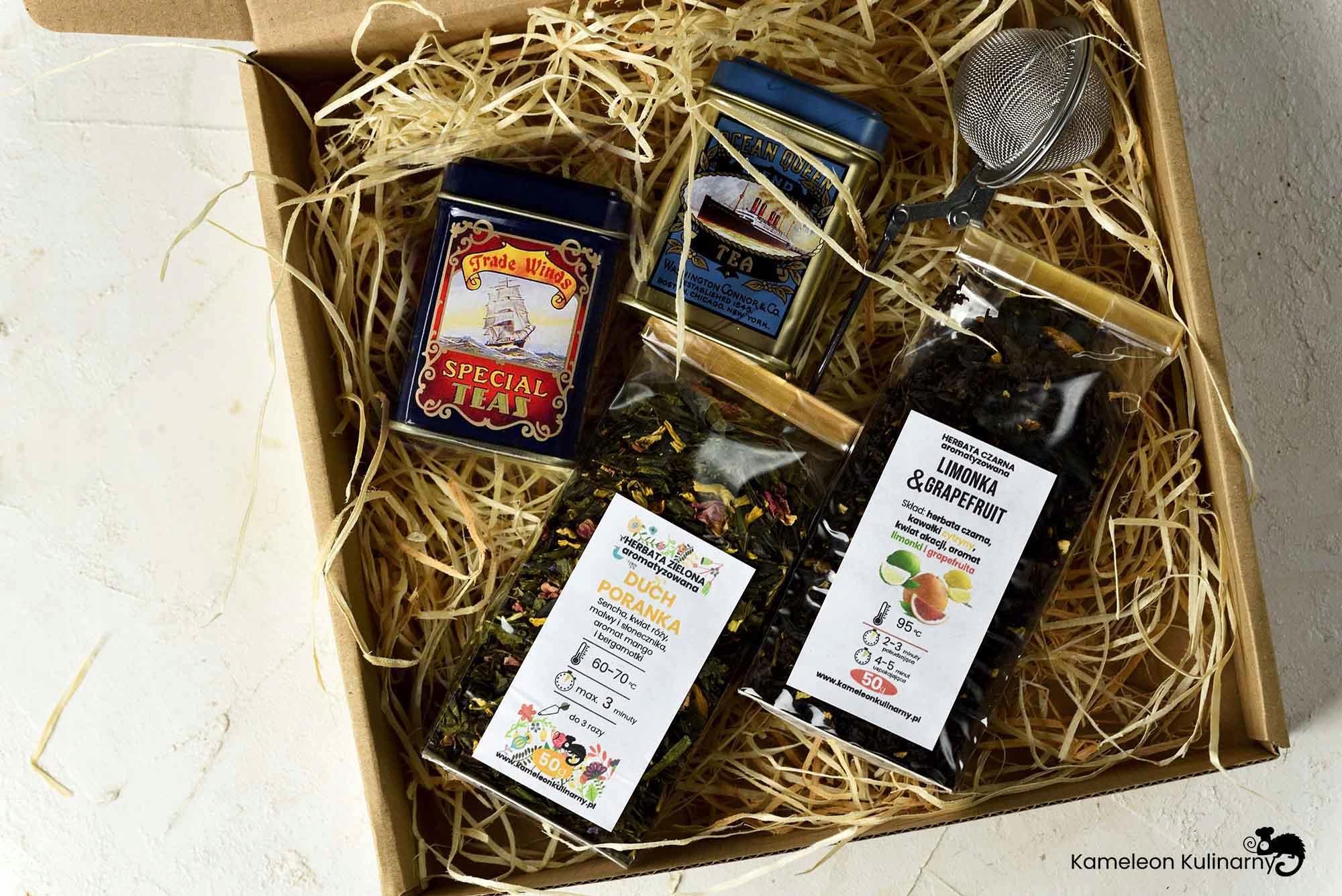 ZESTAW PREZENTOWY 2 herbaty 2 puszki i zaparzacz Nazwa handlowa ZESTAW 2 herbaty + 2 metalowe puszki na herbatę + zaparzacz - KAMELOEN KULIANRNY